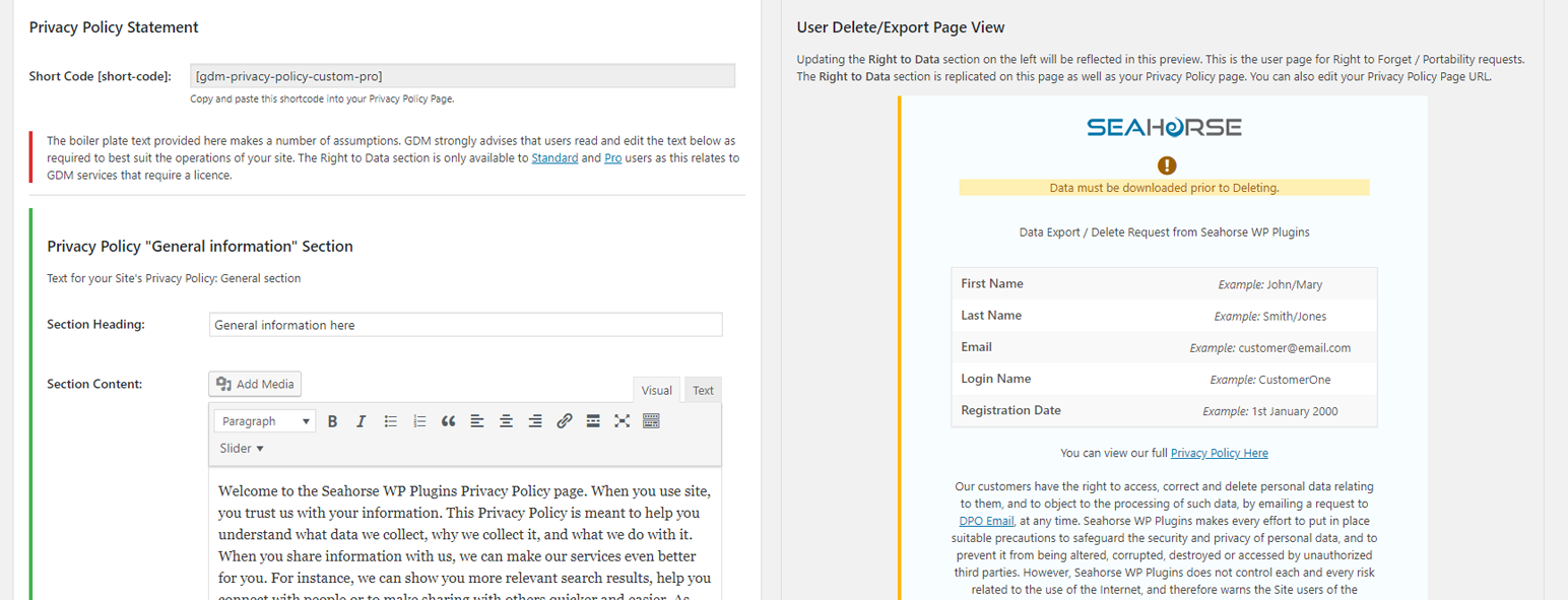 Privacy Policy editor inc user page template view