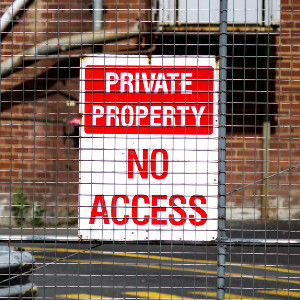 """Private Property - No Access"" Sign"